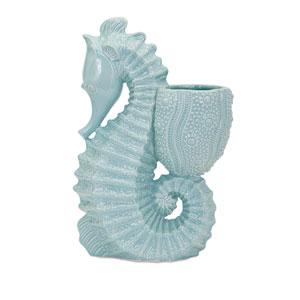 Seahorse Blue Ceramic Planter