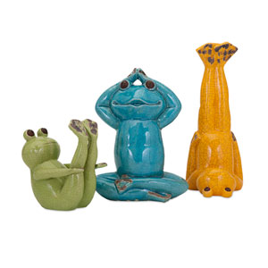 Multicolor Yoga Frog Statuaries, Set of Three