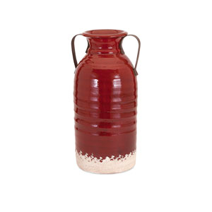 Vermont Red Small Vase with Metal Handles