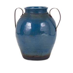 Harrisburg Blue Large Vase with Metal Handle