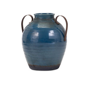 Harrisburg Blue Small Vase with Metal Handle