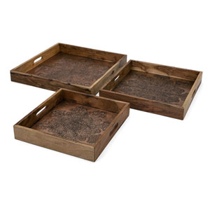 Cecilia Copper Embossed Decorative Trays, Set of 3