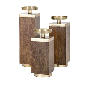 Concepts Eden Wood Candleholders, Set of 3
