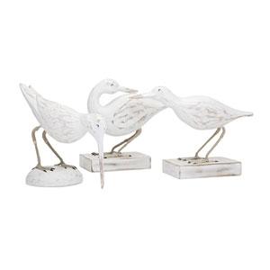 Coastal Carved Wood Seabirds, Set of 3