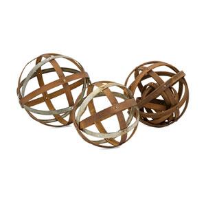 Kaiden Wood and Metal Spheres, Set of 3