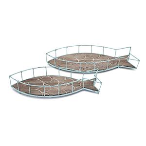 Codi Green Fish Trays - Set of 2