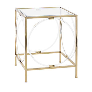 Rouvin Gold Acrylic Glass Accent Table