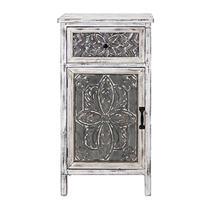 Katina White Galvanized Accent Chest