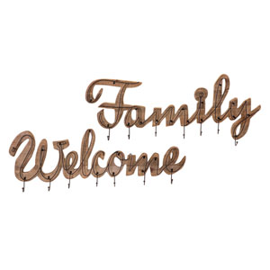 Welcome and Family Wall Hooks, Set of 2