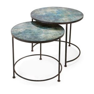 Paxton Metal and Printed Glass Tables, Set of 2