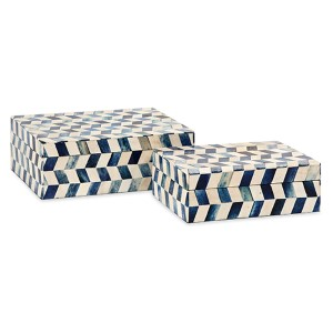 Essentials Marine Blue Bone Box, Set of Two