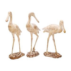 Beige Seagull Sculpture, Set of 3