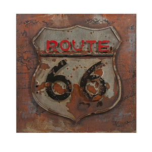 Route 66: 32 x 32-Inch Metal Wall Art