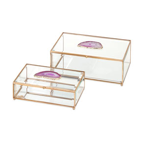 Maison Glass and Agate Boxes , Set of 2