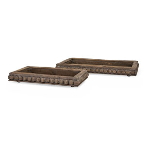 Kelly Wooden Decorative Trays, Set of 2