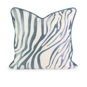 IK Bahari Light Blue Embroidered Linen Pillow w/Down Fill