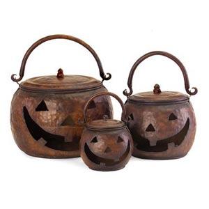 Lidded Pumpkins, Set of Three