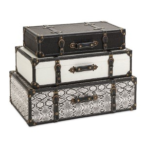 Aberdeen Black and White Storage Trunk, Set of Three
