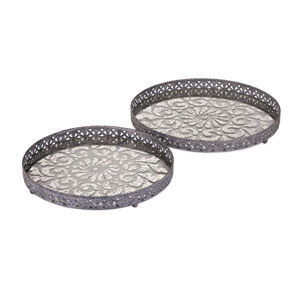 Myers Grey Glass and Metal Trays, Set of Two