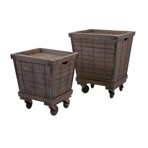 Ella Elaine Wood Cart Tray Side Tables  Set of 2