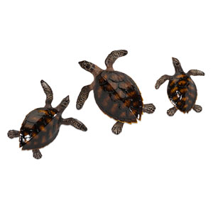 Swanson Black and Bronze Sea Turtle Wall Decor, Set of Three