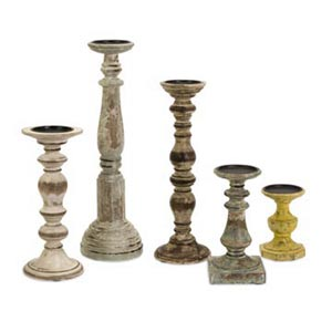 Kanan Wood Candleholders In Distressed Finishes, Set of Five