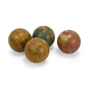 Antique Finish Globe 4-Inch Spheres - Set of Four