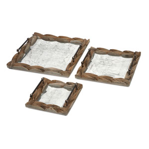 Santiago Brown Wooden Trays, Set of Three