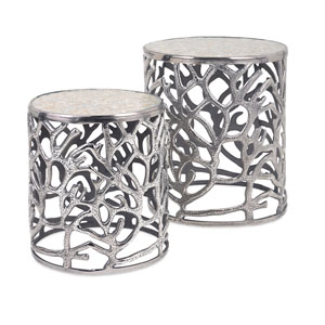 Daltry Silver Coastal Tables, Set of Two