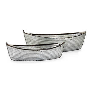 Boat Planters - Set of 2 in Silver