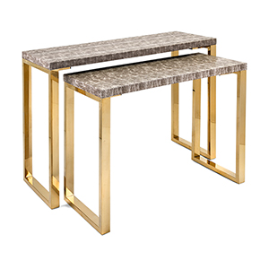 Virdigris Console Tables - Set of 2 in Gold