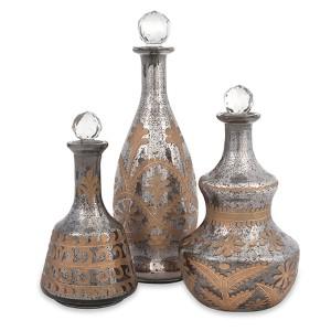 Acadia Smoky Gray and Bronze Glass Decanter, Set of Three