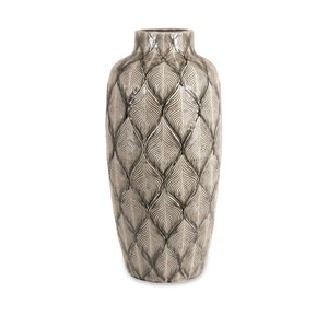 Grey Feathered Oversize Vase