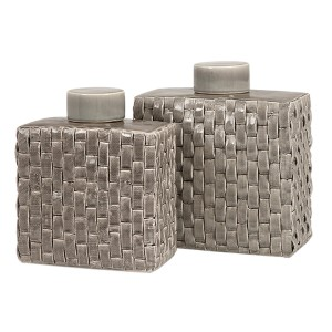 Sophie Soft Gray Woven Ceramic Canister, Set of Two