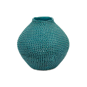 Isaac Blue Short Crater Vase
