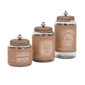 Carley Tan Lidded Glass Jars, Set of Three