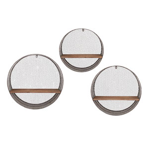Laurel Grey Round Wall Shelves, Set of Three