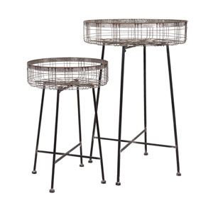 Pitzer Grey Round Wire Plant Stands, Set of Two