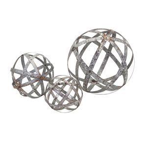 Demi Grey Galvanized Spheres, Set of Three