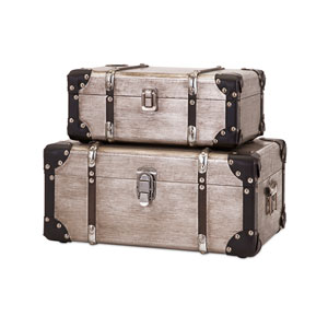 Baker Wood and Aluminum Clad Suitcases, Set of Two