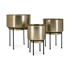 Bladdo Gold Planter on Stand, Set of 3