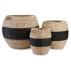 Dorran Black and Tan Woven Storage Basket, Set of Three