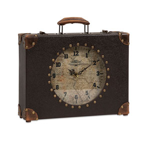 Black World Map Suitcase Clock