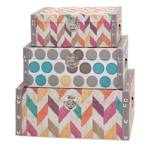 Multicolor Confetti Boxes, Set of Three