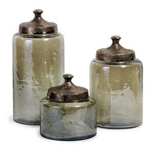 Round Green Luster Canisters, Set of Three