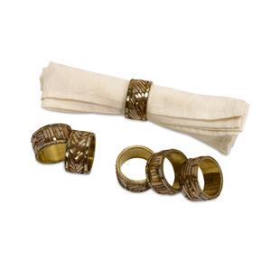Omiska Gold Napkin Rings, Set of Six