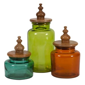 Saburo Blue, Green and Orange Glass Canisters with Wood Lid, Set of Three