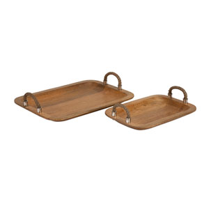 Tabari Mango Wood Trays with Jute Handle, Set of Two