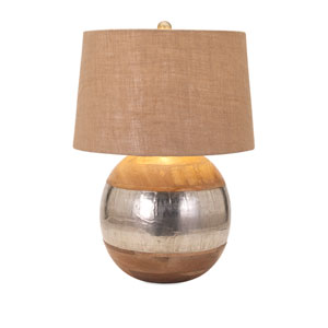 Nessa Brown and Silver One-Light Wood and Metal Clad Lamp