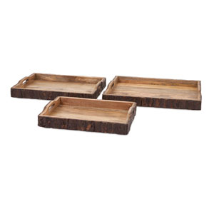 Nakato Brown Wood Bark Serving Trays, Set of Three